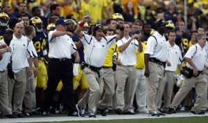 *UM head coach Rich Rodriguez celebrating the win, photo by the Detroit Free Press