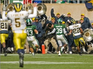 *Forcier celebrates Darryl Stonum's touchdown in the fourth quarter, photo by MGoBlue.com