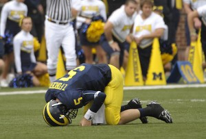 *Forcier injured against Indiana (what we can't see this Saturday), photo by The Detroit News / David Guralnick