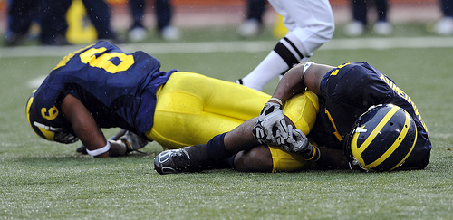 *A symbol of the 35-10 loss to Penn State, Donovan Warren and Junior Hemmingway collided on a punt return, photo by Lon Horwedel | AnnArbor.com