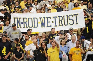 *Michigan fans show their support for Rich Rodriguez against Western Michigan, photo by John T. Greilick / The Detroit News