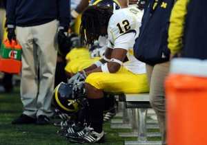*Defensive back J.T. Floyd sums up Michigan's day against Illinois, photo by Melanie Maxwell | AnnArbor.com