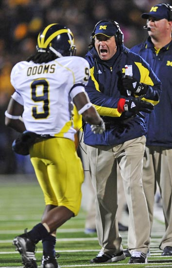 *Rodriguez screams at Martavious Odoms against Iowa, photo by the Detroit News