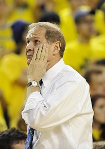 *UM coach John Beilein certainly isn't happy about the team's poor shooting, photo by John T. Greilick / The Detroit News