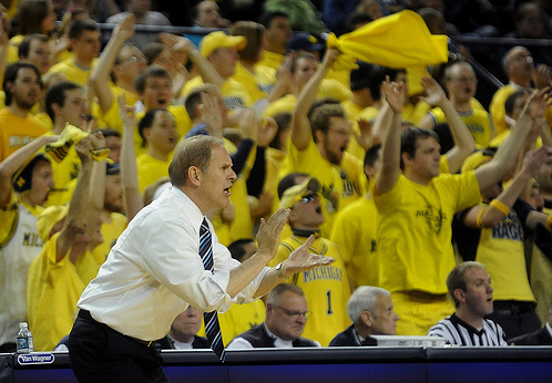 *Head coach John Beilein hopes the Maize Rage student section can fuel Michigan to a win over Connecticut, photo by the AP