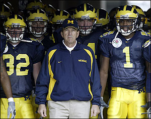 Lloyd Carr didn't leave much for Rodriguez to work with following the 2007 season