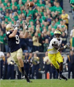 Safety Cam Gordon lets ND tight end Kyle Rudolph run right by for a 95-yard TD catch (photo by ESPN.com)