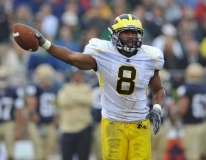 Jonas Mouton's first quarter interception led to Michigan's first touchdown of the game, photo by the Ann Arbor News