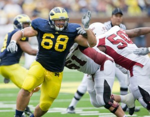 NT Mike Martin and the defensive line face an offense that has given up 11 sacks so far (photo from MGoBlue.com)