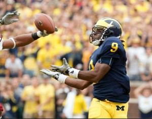 Martavious Odoms caught the winning touchdown pass last year with 2:29 remaining (photo from MgoBlue.com)