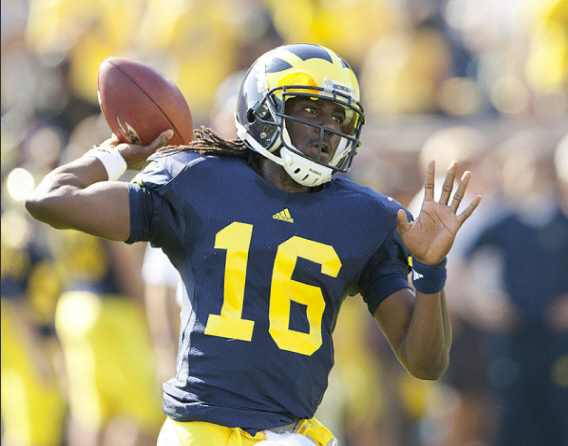 Denard Robinson averaged 4.7 yards per carry, but two interceptions in the end zone doomed Michigan on Saturday (photo from MGoBlue.com)