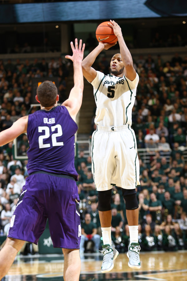 Adreian Payne missed the first meeting but has averaged 18 points and seven rebounds in five games since (Matthew Mitchell, MSU Athletic Communications)