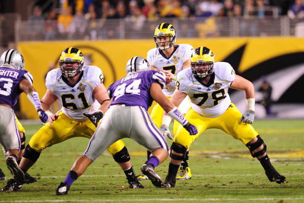Graham Glasgow and Erik Magnuson struggled in 2013 but gained experience that will help them in 2014 (MGoBlue.com)