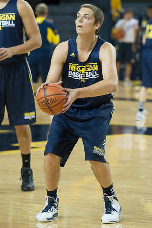Mark Donnal has a huge task ahead of him in locking down Michigan's front court (Courtney Sacco, Ann Arbor News)