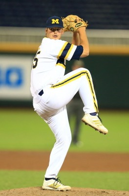 Freshman Brett Adcock allowed no hits through five and one through six, but the wheels fell off in the seventh (MGoBlue.com)