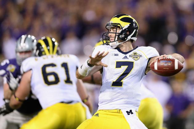 Shane Morris showed plenty of potential in Michigan's BWW Bowl loss to Kansas State (Christian Peterson, Getty Images)