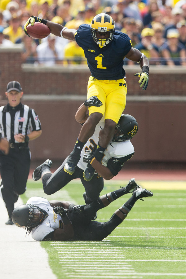 Devin Funchess became the first WR in Michigan history to catch three touchdown passes in the season opener (MGoBlue.com)