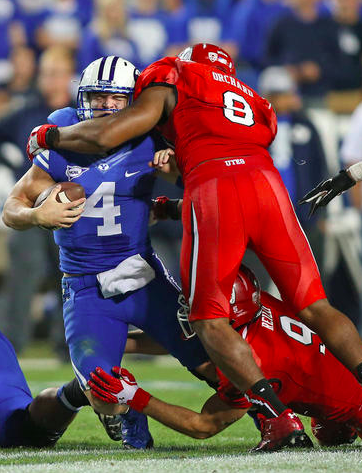 Nate Orchard was a high school teammate of Bryan Mone and Sione Houma and is the leader of Utah's defense (Tom Smart, Deseret News)
