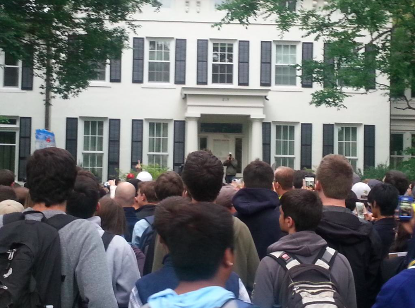 Students rally outside president Schlissle's house (Derick Hutchinson, M&GB)