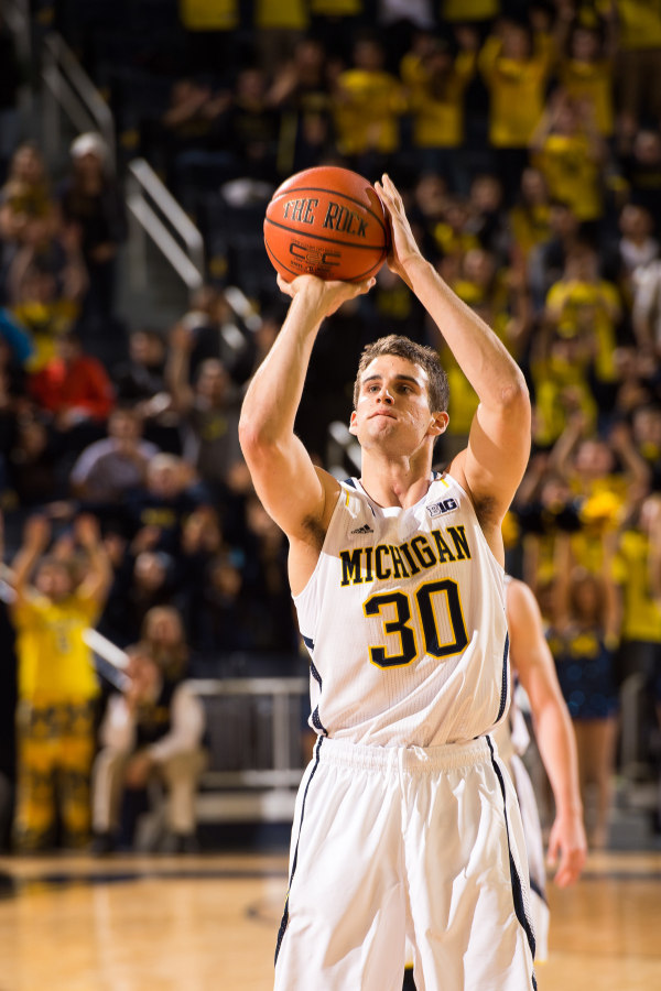 Austin Hatch scored the first point of his Michigan career with a late free throw (MGoBlue.com)