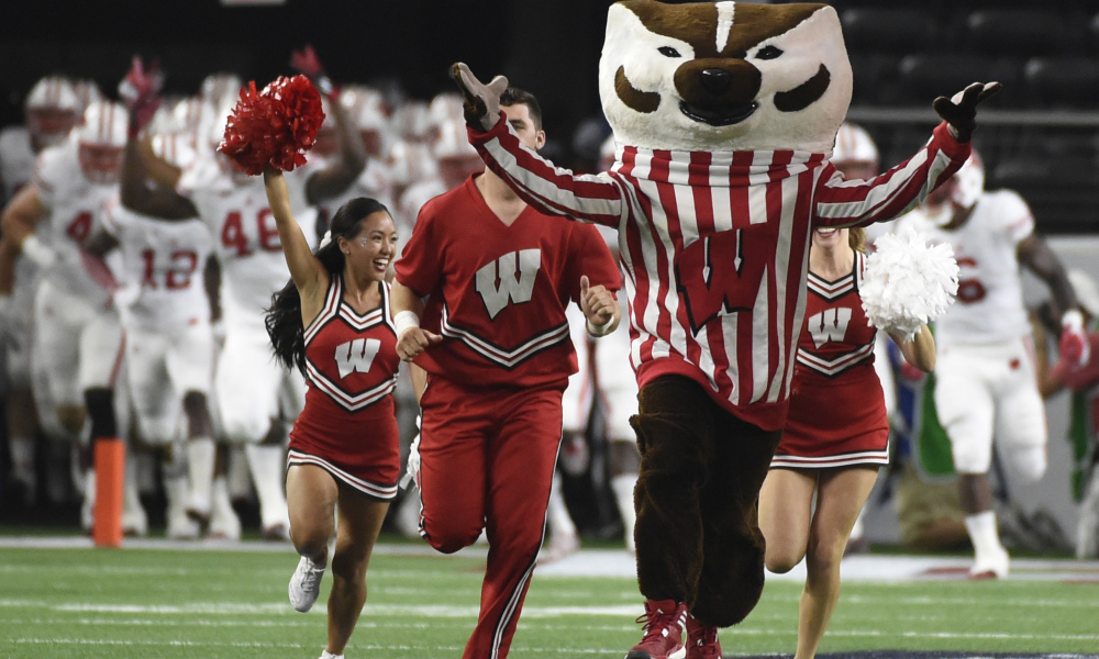 Sep 5, 2015; Arlington, TX, USA; The Wisconsin Badgers mascot Bucky Badger takes the field before the game against the Alabama Crimson Tide at AT&T Stadium. Mandatory Credit: Richard Mackson-USA TODAY Sports ORG XMIT: USATSI-226178 ORIG FILE ID: 20150905_lbm_am8_089.JPG